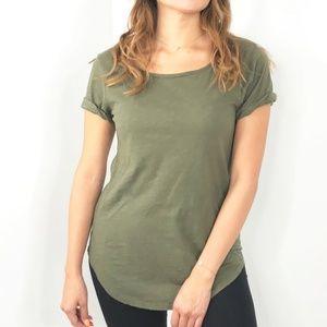 T.La Olive Green Short Sleeve Top